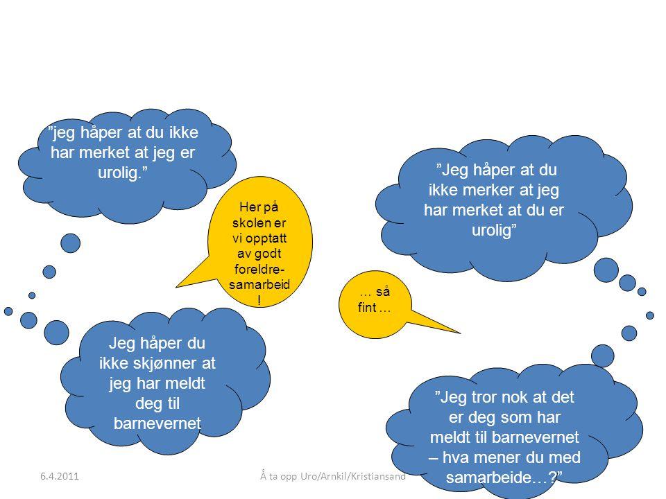 Å ta opp Uro/Arnkil/Kristiansand jeg håper at du ikke har merket at jeg er urolig. Jeg håper at du ikke merker at jeg har merket at du er urolig Jeg håper du ikke skjønner at jeg har meldt deg til barnevernet Jeg tror nok at det er deg som har meldt til barnevernet – hva mener du med samarbeide… Her på skolen er vi opptatt av godt foreldre- samarbeid .