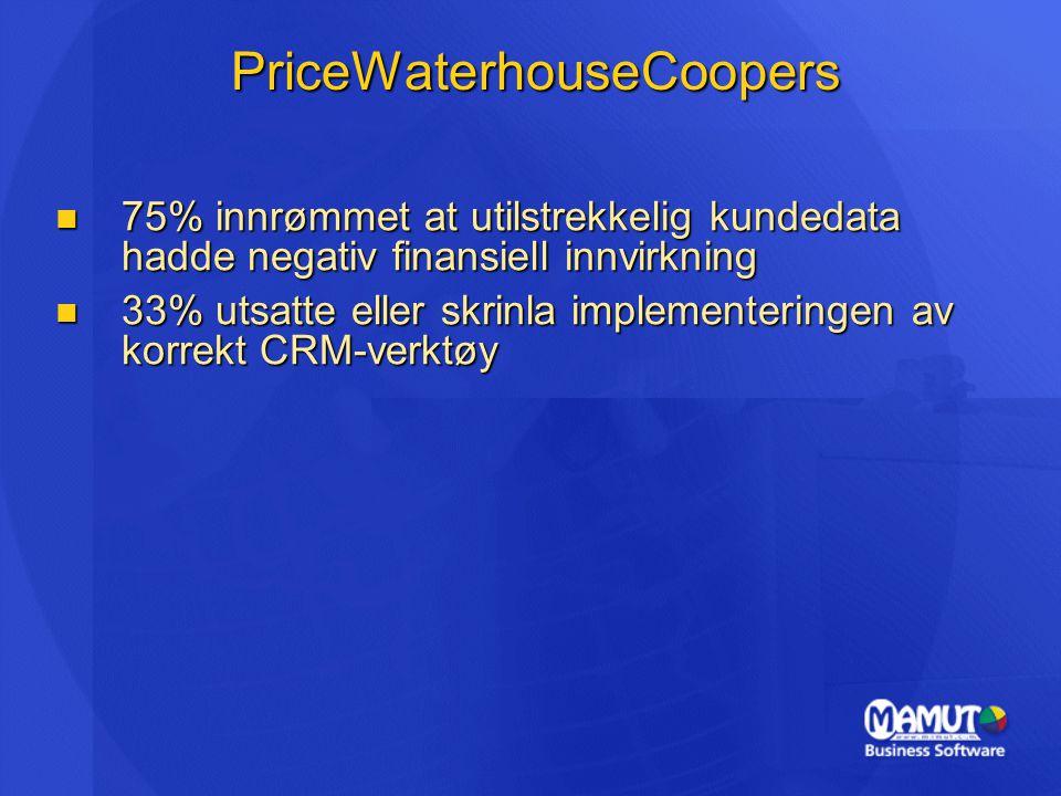 PriceWaterhouseCoopers 75% innrømmet at utilstrekkelig kundedata hadde negativ finansiell innvirkning 75% innrømmet at utilstrekkelig kundedata hadde