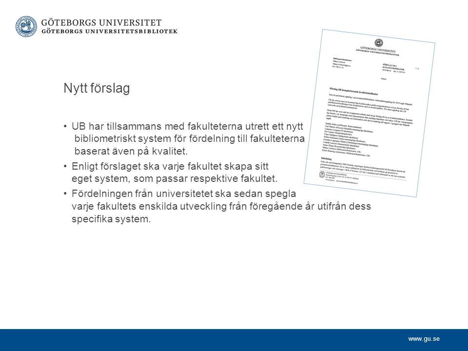 www.gu.se Nytt förslag UB har tillsammans med fakulteterna utrett ett nytt bibliometriskt system för fördelning till fakulteterna baserat även på kvalitet.