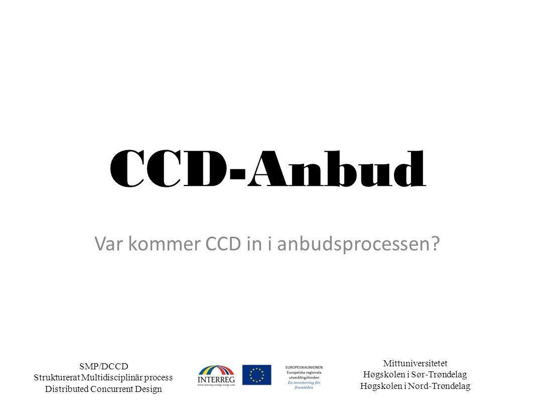 Mittuniversitetet Høgskolen i Sør ‐ Trøndelag Høgskolen i Nord ‐ Trøndelag SMP/DCCD Strukturerat Multidisciplinär process Distributed Concurrent Design CCD-Anbud Var kommer CCD in i anbudsprocessen?