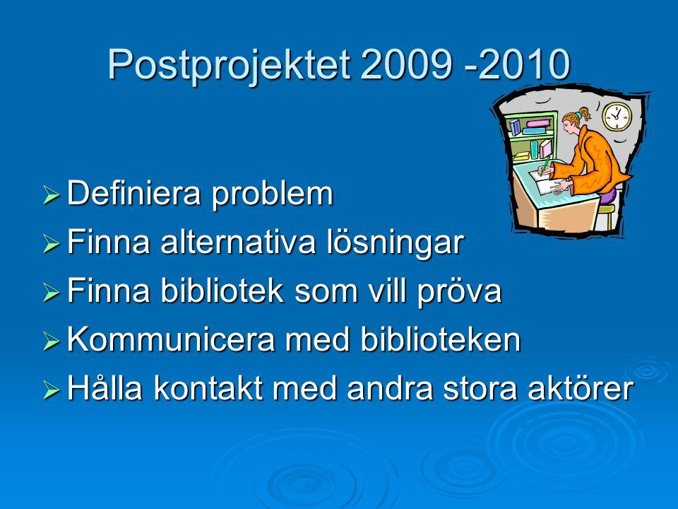 Postprojektet 2009 -2010  Definiera problem  Finna alternativa lösningar  Finna bibliotek som vill pröva  Kommunicera med biblioteken  Hålla kontakt med andra stora aktörer