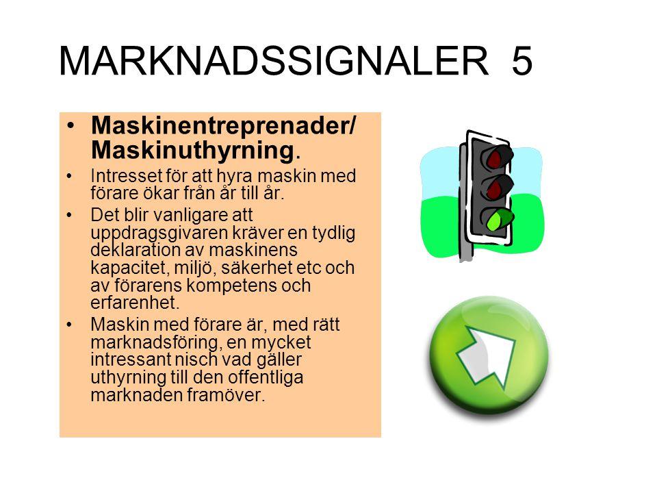MARKNADSSIGNALER 5 Maskinentreprenader/ Maskinuthyrning. Intresset för att hyra maskin med förare ökar från år till år. Det blir vanligare att uppdrag