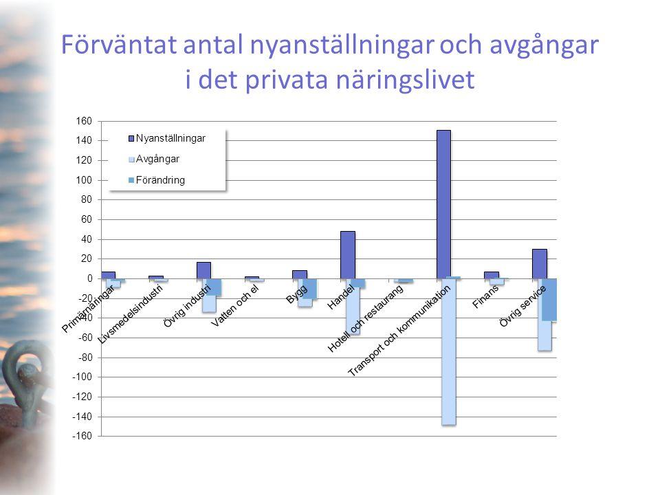Förväntat antal nyanställningar och avgångar i det privata näringslivet