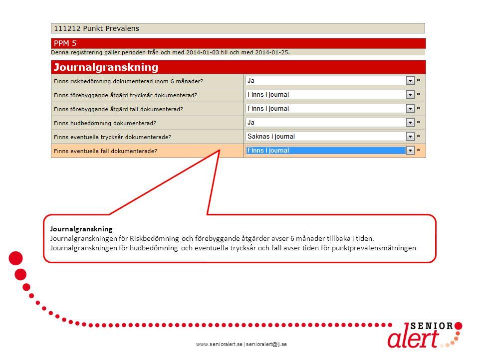 www.senioralert.se | senioralert@lj.se Journalgranskning Journalgranskningen för Riskbedömning och förebyggande åtgärder avser 6 månader tillbaka i ti