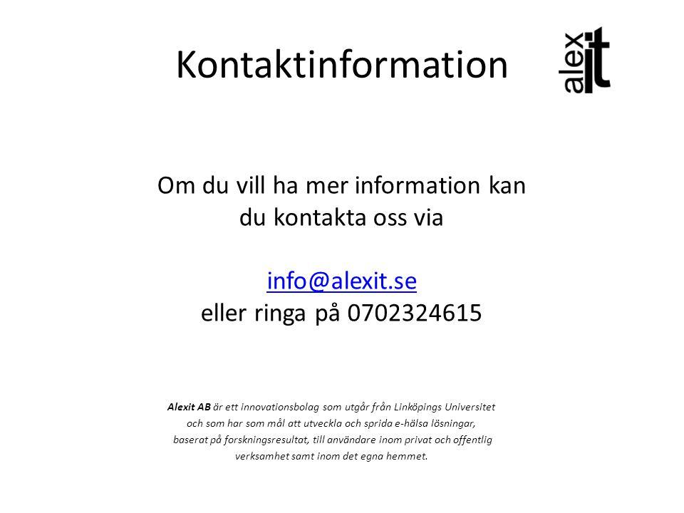 Kontaktinformation Alexit AB är ett innovationsbolag som utgår från Linköpings Universitet och som har som mål att utveckla och sprida e-hälsa lösning