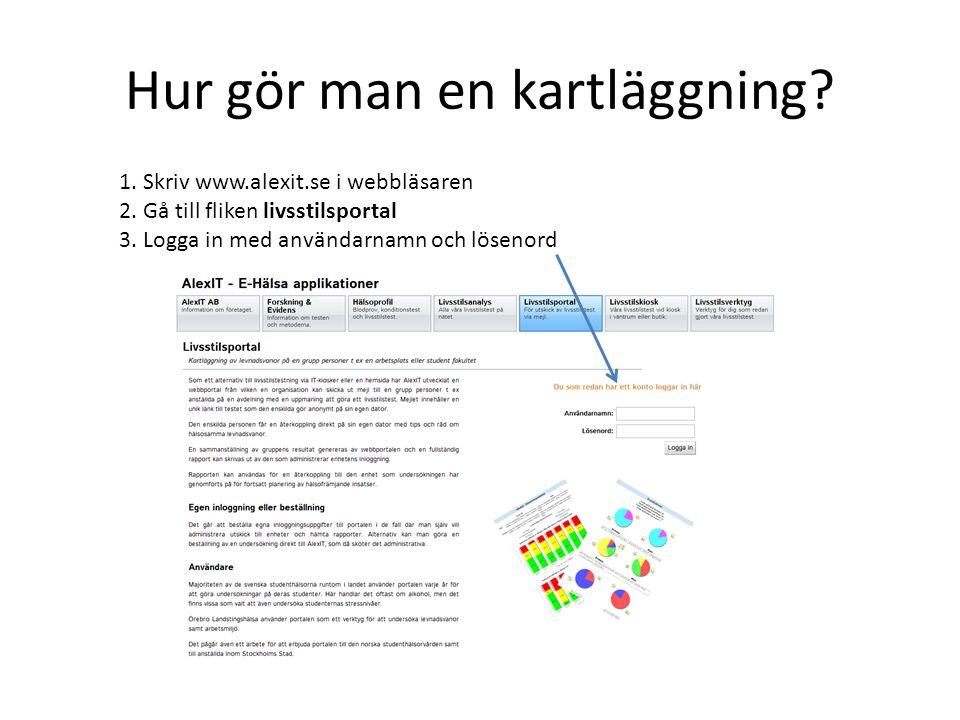 Hur gör man en kartläggning? 1. Skriv www.alexit.se i webbläsaren 2. Gå till fliken livsstilsportal 3. Logga in med användarnamn och lösenord