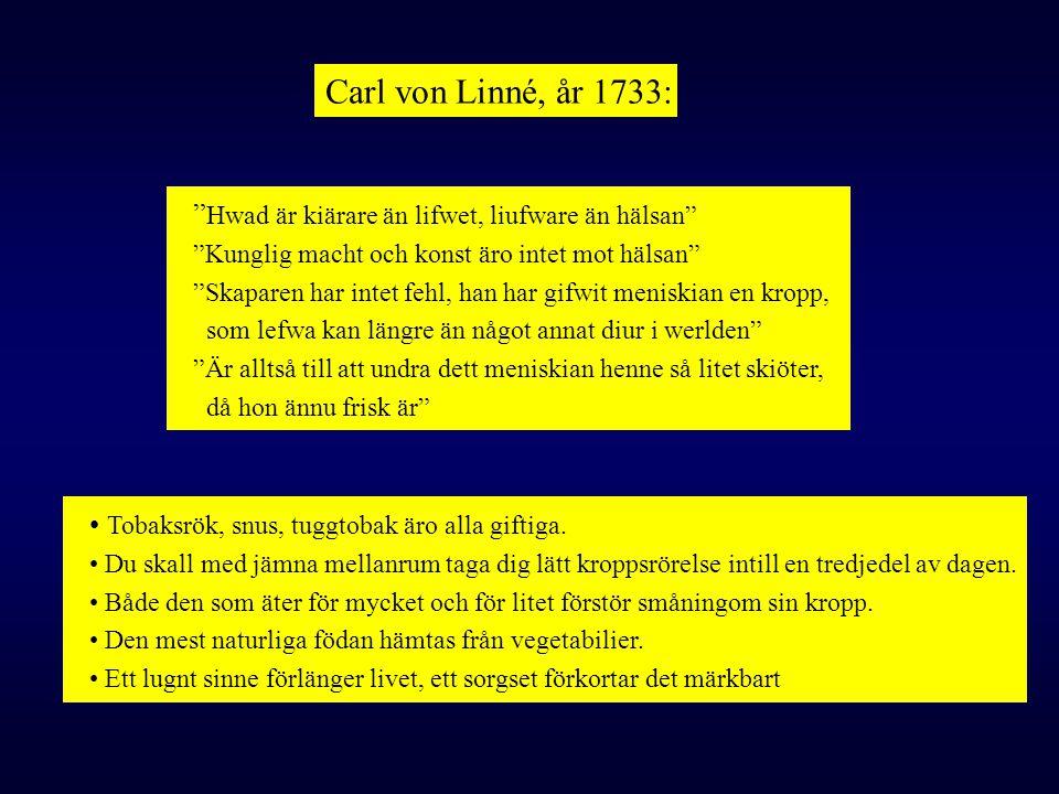 """Carl von Linné, år 1733: """" Hwad är kiärare än lifwet, liufware än hälsan"""" """"Kunglig macht och konst äro intet mot hälsan"""" """"Skaparen har intet fehl, han"""