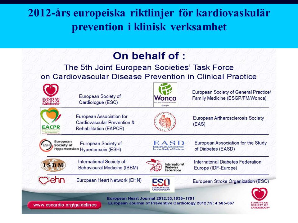 2012-års europeiska riktlinjer för kardiovaskulär prevention i klinisk verksamhet