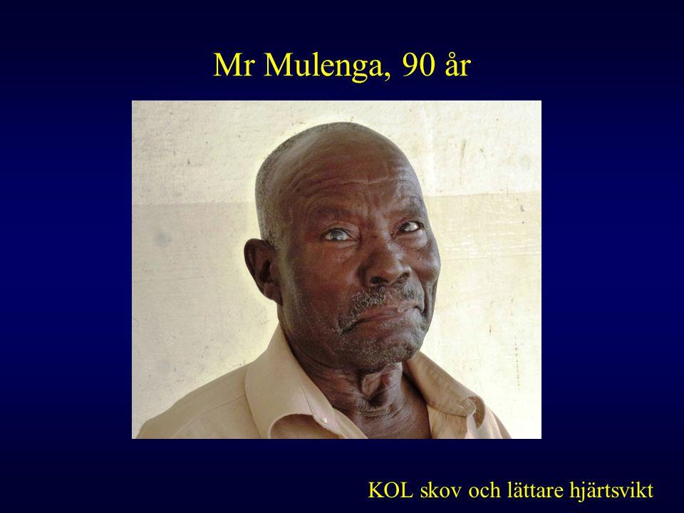 Mr Mulenga, 90 år KOL skov och lättare hjärtsvikt