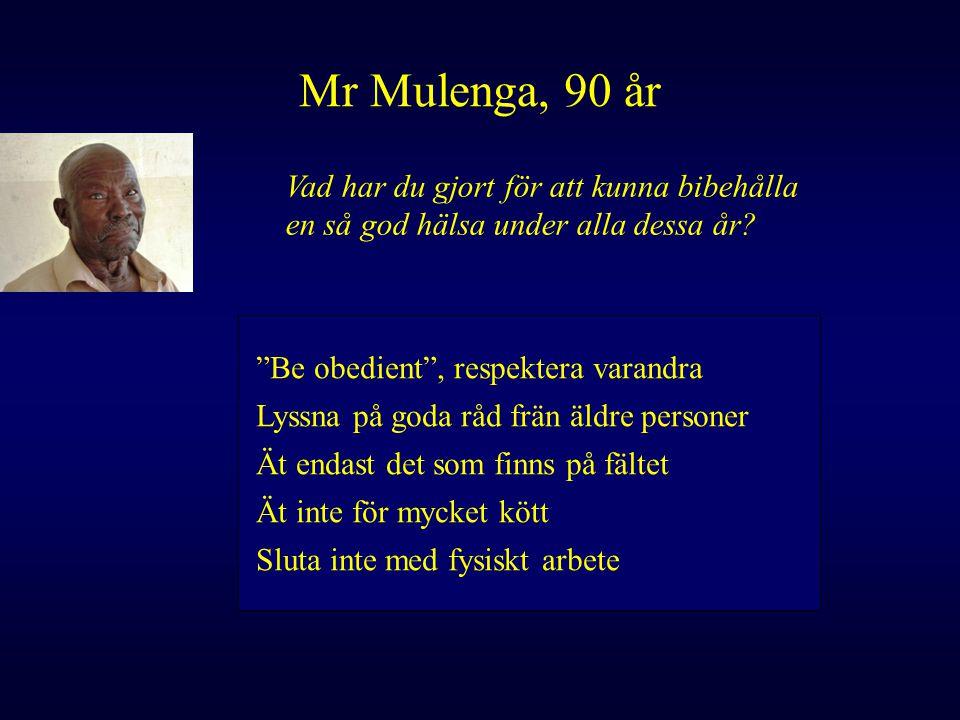 """Mr Mulenga, 90 år Vad har du gjort för att kunna bibehålla en så god hälsa under alla dessa år? """"Be obedient"""", respektera varandra Lyssna på goda råd"""