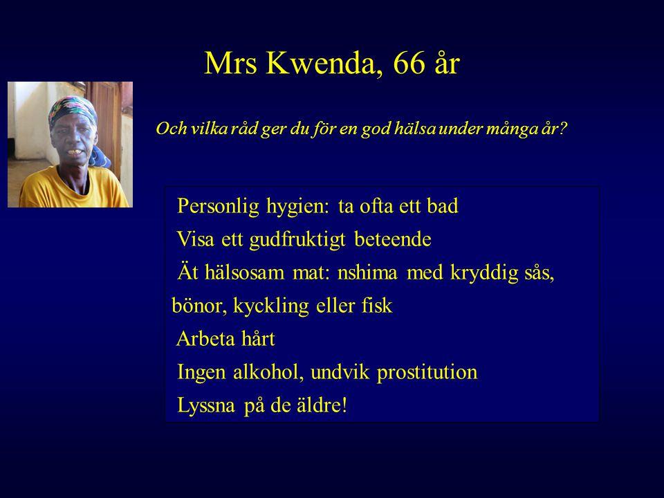 Mrs Kwenda, 66 år Och vilka råd ger du för en god hälsa under många år? Personlig hygien: ta ofta ett bad Visa ett gudfruktigt beteende Ät hälsosam ma