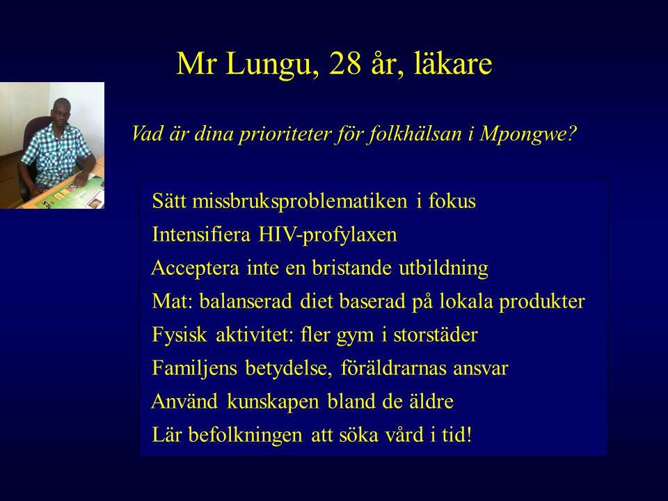 Vad är dina prioriteter för folkhälsan i Mpongwe? Sätt missbruksproblematiken i fokus Intensifiera HIV-profylaxen Acceptera inte en bristande utbildni