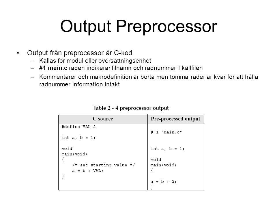Output Preprocessor Output från preprocessor är C-kod –Kallas för modul eller översättningsenhet –#1 main.c raden indikerar filnamn och radnummer I källfilen –Kommentarer och makrodefinition är borta men tomma rader är kvar för att hålla radnummer information intakt
