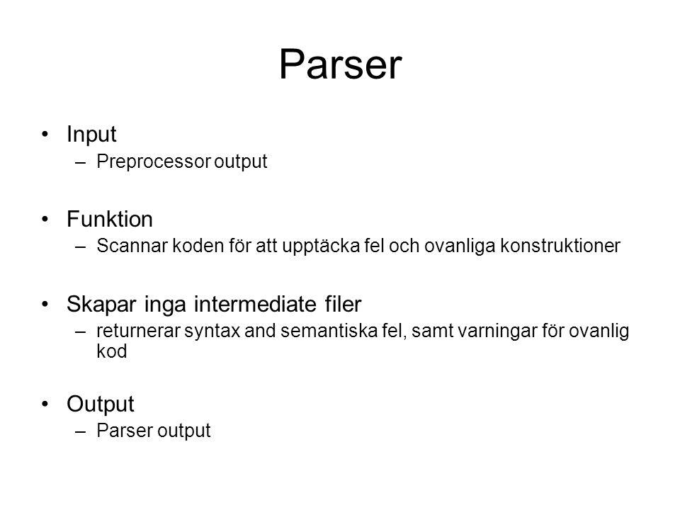 Parser Input –Preprocessor output Funktion –Scannar koden för att upptäcka fel och ovanliga konstruktioner Skapar inga intermediate filer –returnerar syntax and semantiska fel, samt varningar för ovanlig kod Output –Parser output