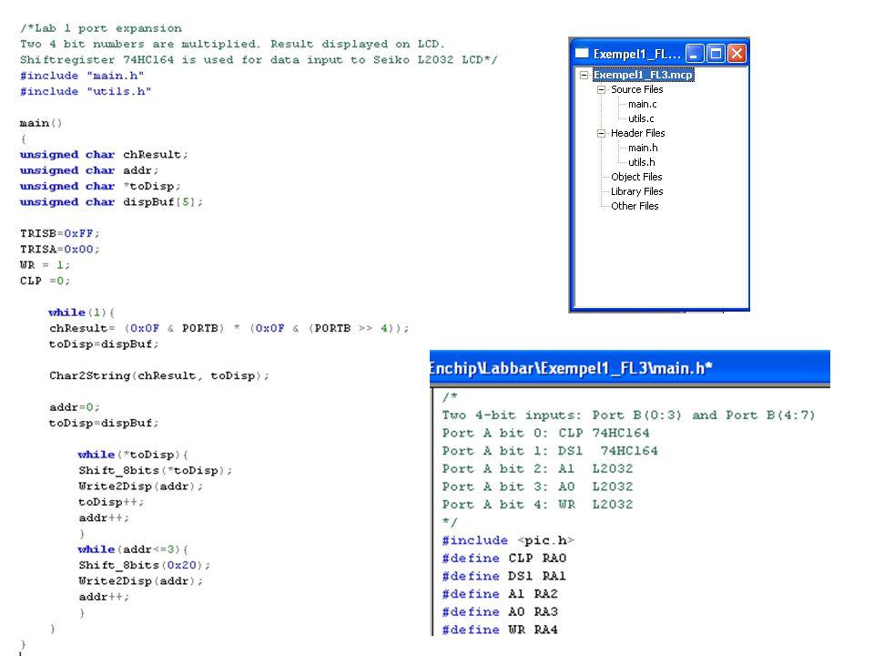 C-filer C-filer kräver mest arbete av kompilatorn –För varje C-fil produceras en listfil av applikationen CLIST –Innehåller C-filerna med radnummer