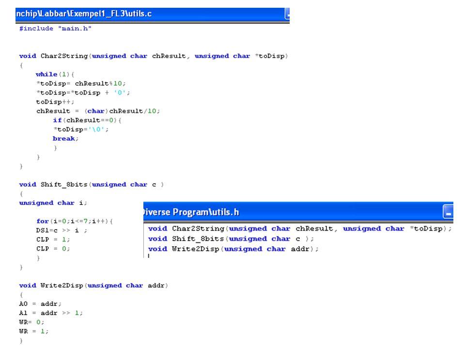 Stöd-filer Stöd-filer produceras mellan de olika stegen kompileringen