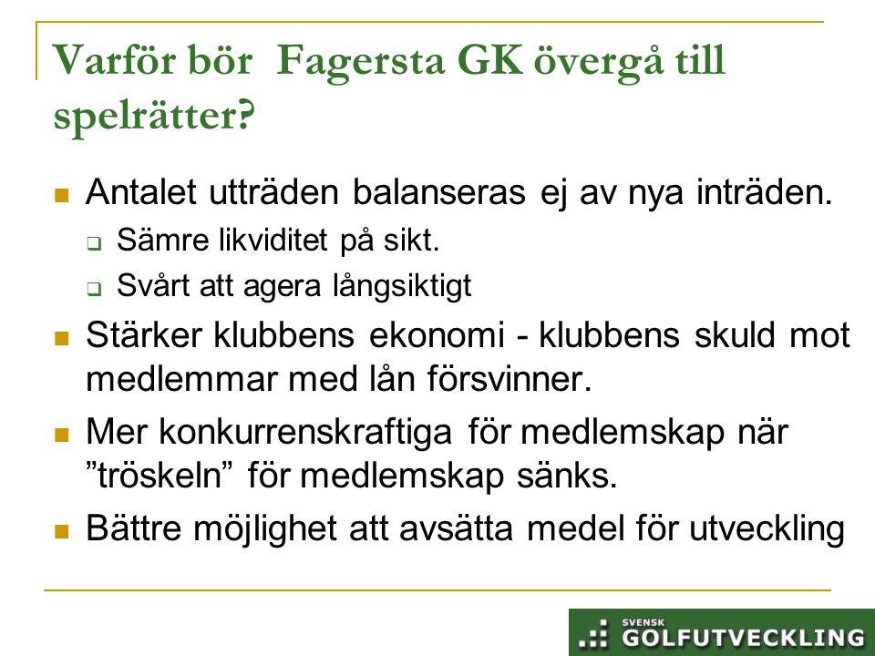 Varför bör Fagersta GK övergå till spelrätter. Antalet utträden balanseras ej av nya inträden.