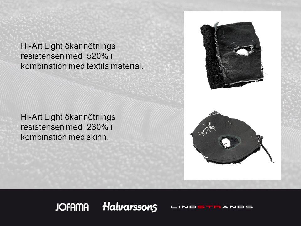 Hi-Art Light ökar nötnings resistensen med 520% i kombination med textila material. Hi-Art Light ökar nötnings resistensen med 230% i kombination med