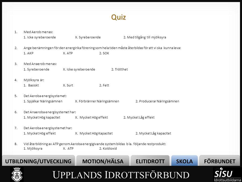 Quiz Quiz 1.Med Aerob menas: 1. Icke syreberoendeX. Syreberoende2. Med tillgång till mjölksyra 2.Ange benämningen för den energirika förening som hela