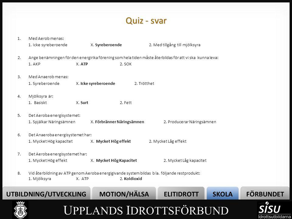 Quiz - svar 1.Med Aerob menas: 1. Icke syreberoendeX. Syreberoende2. Med tillgång till mjölksyra 2.Ange benämningen för den energirika förening som he
