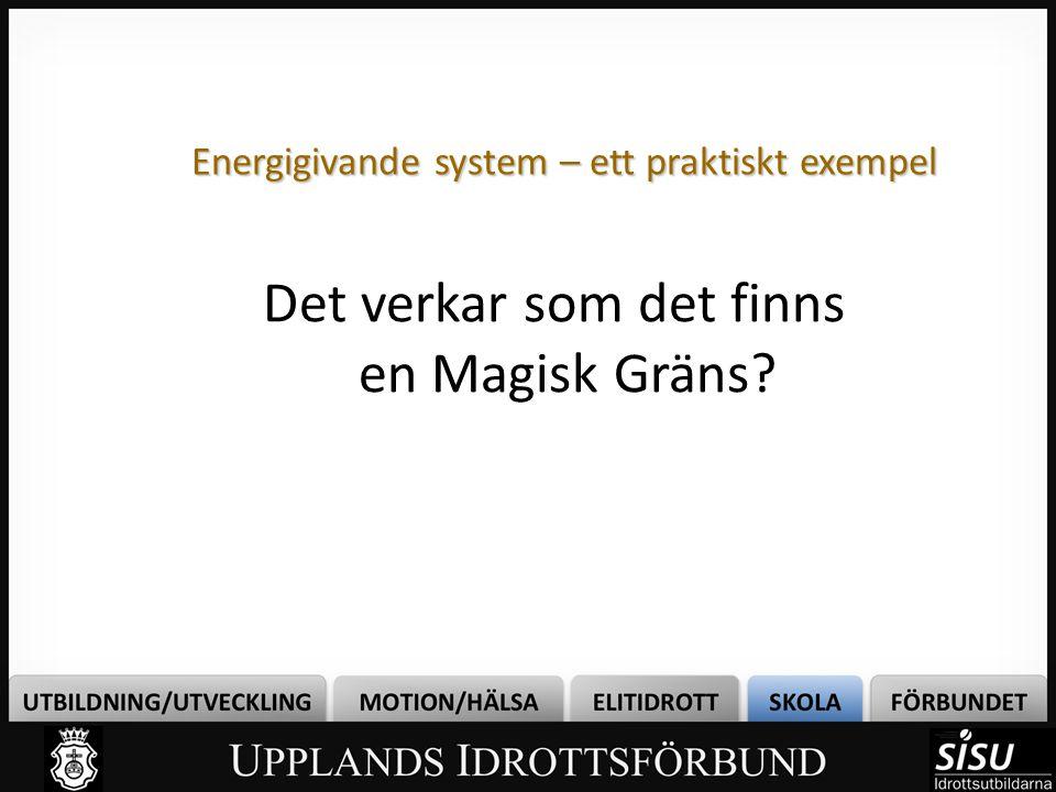 Energigivande system – ett praktiskt exempel Det verkar som det finns en Magisk Gräns?