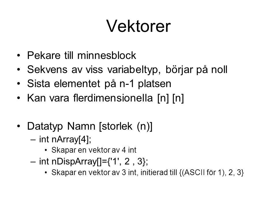 Vektorer Pekare till minnesblock Sekvens av viss variabeltyp, börjar på noll Sista elementet på n-1 platsen Kan vara flerdimensionella [n] [n] Datatyp