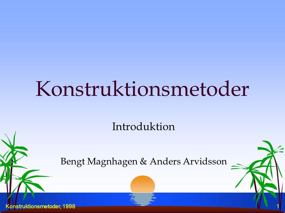 Konstruktionsmetoder, 19981 Konstruktionsmetoder Introduktion Bengt Magnhagen & Anders Arvidsson