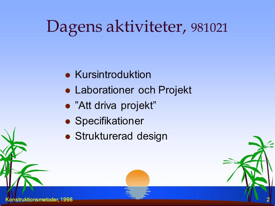 Konstruktionsmetoder, 19982 Dagens aktiviteter, 981021 l Kursintroduktion l Laborationer och Projekt l Att driva projekt l Specifikationer l Strukturerad design