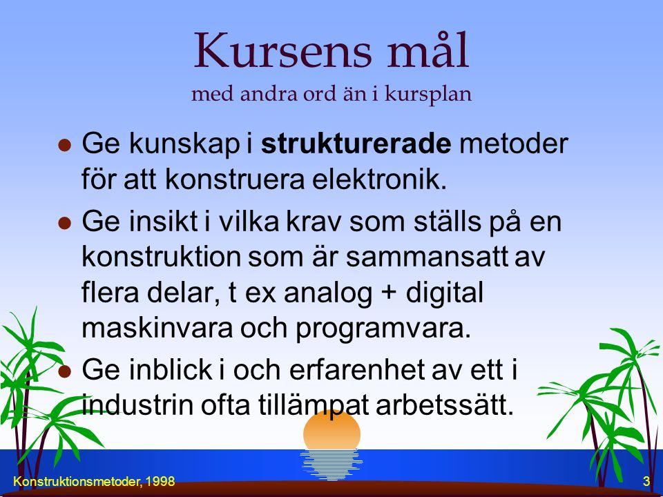 """Konstruktionsmetoder, 19982 Dagens aktiviteter, 981021 l Kursintroduktion l Laborationer och Projekt l """"Att driva projekt"""" l Specifikationer l Struktu"""