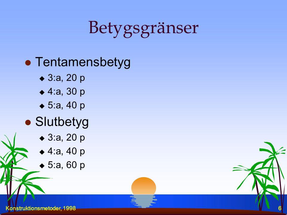 Konstruktionsmetoder, 19986 Betygsgränser l Tentamensbetyg u 3:a, 20 p u 4:a, 30 p u 5:a, 40 p l Slutbetyg u 3:a, 20 p u 4:a, 40 p u 5:a, 60 p