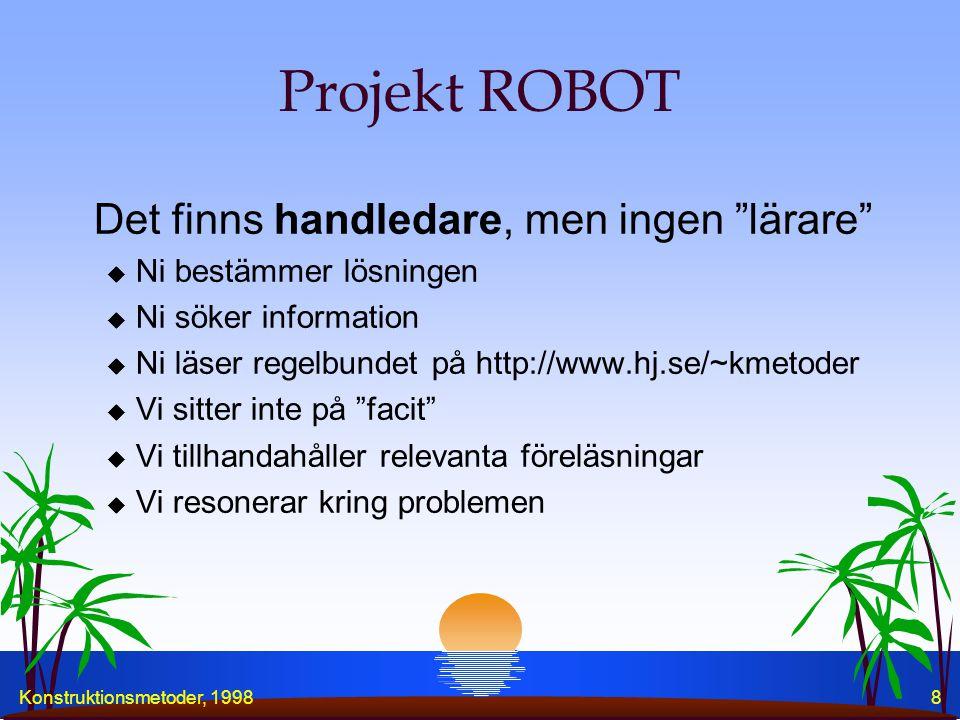 Konstruktionsmetoder, 19988 Projekt ROBOT Det finns handledare, men ingen lärare u Ni bestämmer lösningen u Ni söker information u Ni läser regelbundet på http://www.hj.se/~kmetoder u Vi sitter inte på facit u Vi tillhandahåller relevanta föreläsningar u Vi resonerar kring problemen