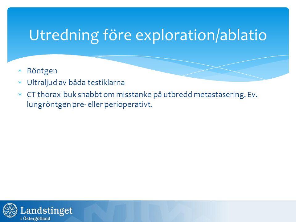 Utredning före exploration/ablatio  Röntgen  Ultraljud av båda testiklarna  CT thorax-buk snabbt om misstanke på utbredd metastasering. Ev. lungrön