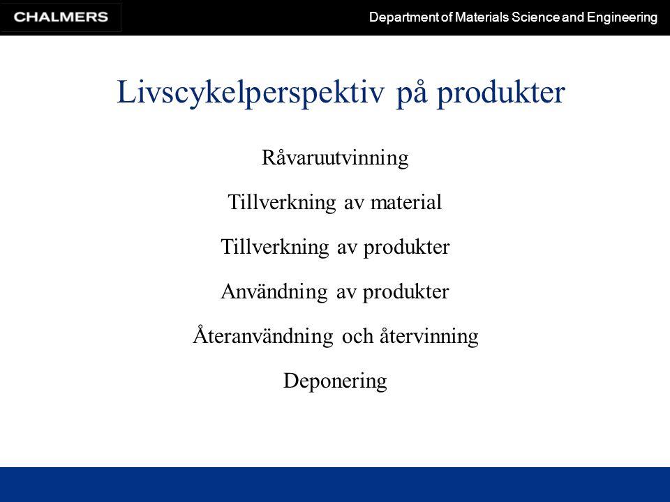 Department of Materials Science and Engineering Råvaror till polymera material Polymera framställs till ca 90 % av råolja och naturgas Undantag är främst naturgummi, regenererad cellulosa och stärkelse Råolja Asfalt, smörjolja, 9 % vaxer och andra kemisk-tekniska produkter 4 % Syntetiska polymerer Förbränning Världsproduktionen råolja ca 3.500 miljoner ton år 2000 I Sverige konsumeras ca 0,5 % av världsproduktionen olja 87 %