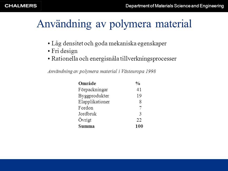 Department of Materials Science and Engineering Användning av polymera material Låg densitet och goda mekaniska egenskaper Fri design Rationella och e