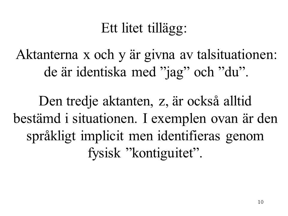 10 Ett litet tillägg: Aktanterna x och y är givna av talsituationen: de är identiska med jag och du .
