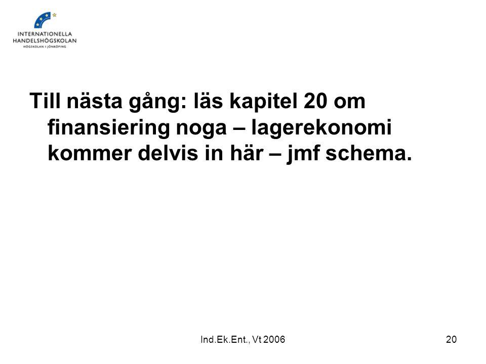 Ind.Ek.Ent., Vt 200620 Till nästa gång: läs kapitel 20 om finansiering noga – lagerekonomi kommer delvis in här – jmf schema.