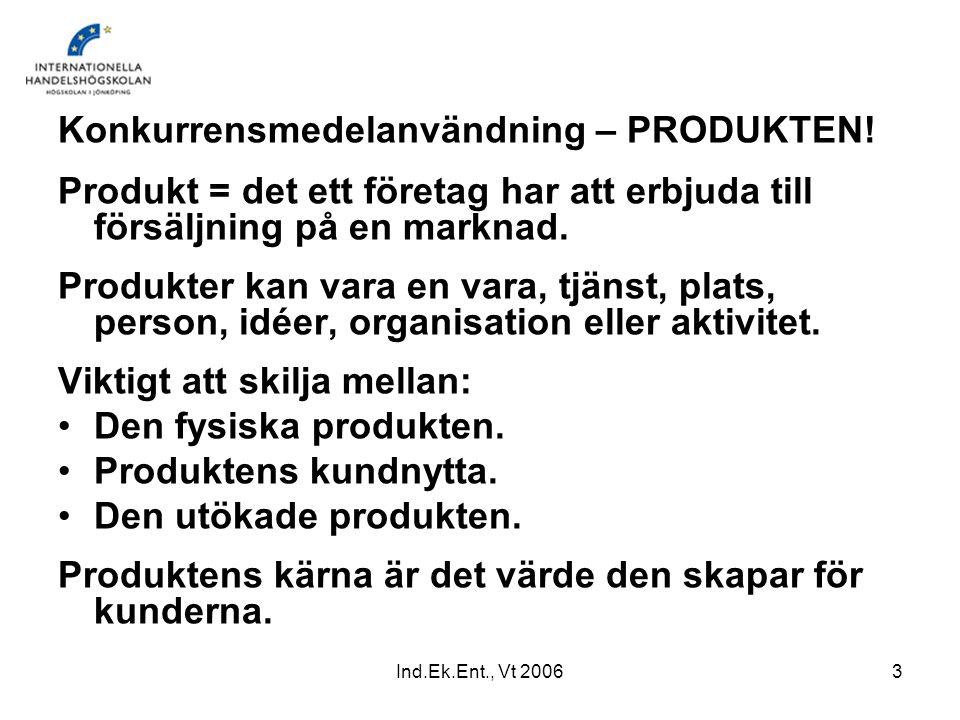Ind.Ek.Ent., Vt 20063 Konkurrensmedelanvändning – PRODUKTEN! Produkt = det ett företag har att erbjuda till försäljning på en marknad. Produkter kan v