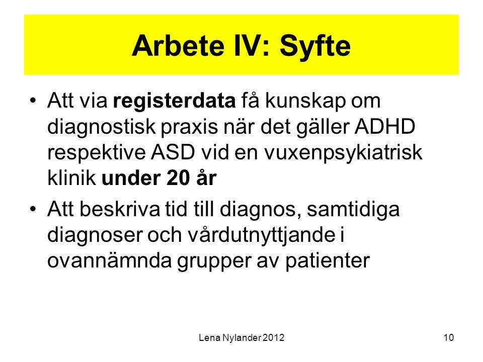 Arbete IV: Syfte Att via registerdata få kunskap om diagnostisk praxis när det gäller ADHD respektive ASD vid en vuxenpsykiatrisk klinik under 20 år A