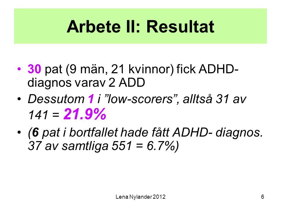 """6 Arbete II: Resultat 30 pat (9 män, 21 kvinnor) fick ADHD- diagnos varav 2 ADD Dessutom 1 i """"low-scorers"""", alltså 31 av 141 = 21.9% (6 pat i bortfall"""