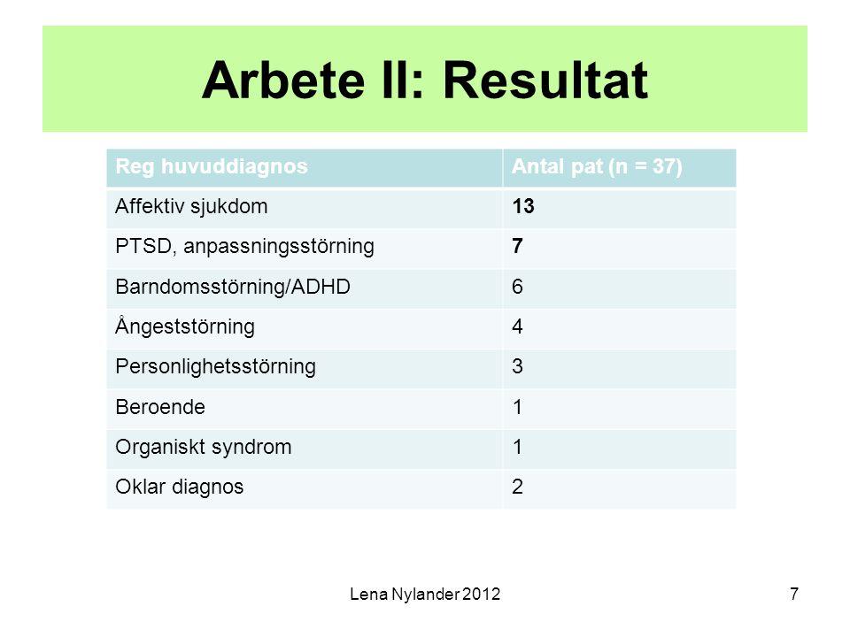 Arbete II: Resultat Reg huvuddiagnosAntal pat (n = 37) Affektiv sjukdom13 PTSD, anpassningsstörning7 Barndomsstörning/ADHD6 Ångeststörning4 Personligh