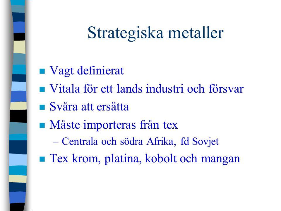 Strategiska metaller n Vagt definierat n Vitala för ett lands industri och försvar n Svåra att ersätta n Måste importeras från tex –Centrala och södra