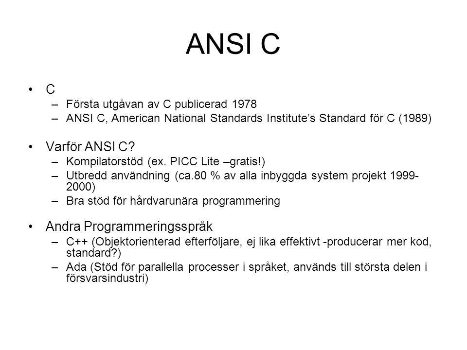 ANSI C C –Första utgåvan av C publicerad 1978 –ANSI C, American National Standards Institute's Standard för C (1989) Varför ANSI C? –Kompilatorstöd (e