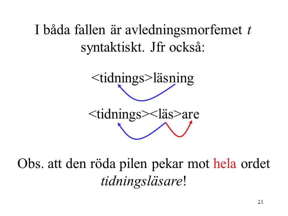 21 I båda fallen är avledningsmorfemet t syntaktiskt.