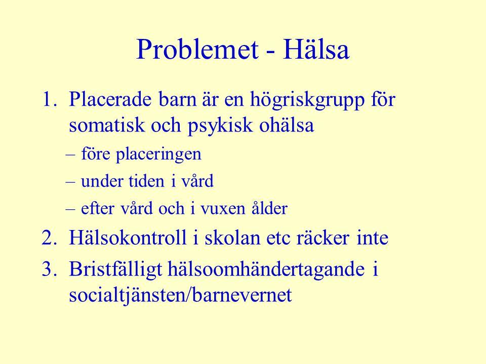 Problemet - Hälsa 1.Placerade barn är en högriskgrupp för somatisk och psykisk ohälsa –före placeringen –under tiden i vård –efter vård och i vuxen ål