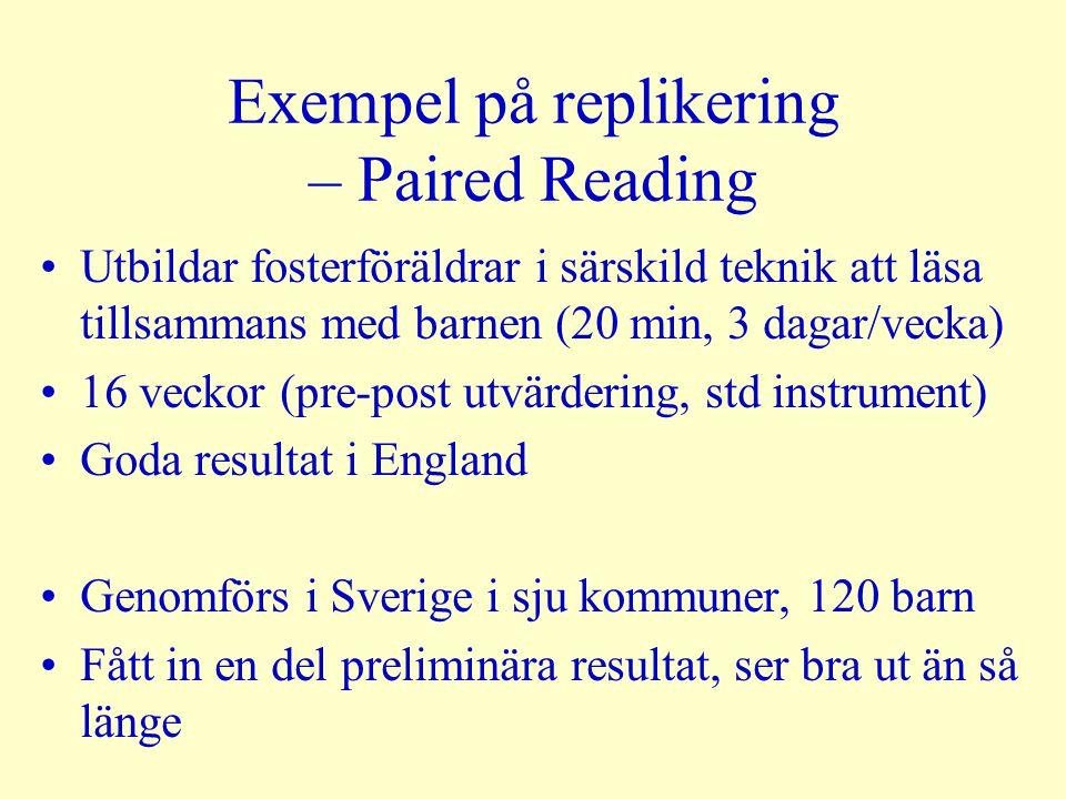 Exempel på replikering – Paired Reading Utbildar fosterföräldrar i särskild teknik att läsa tillsammans med barnen (20 min, 3 dagar/vecka) 16 veckor (