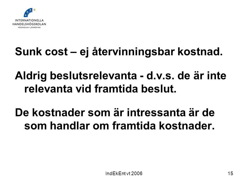 IndEkEnt vt 200615 Sunk cost – ej återvinningsbar kostnad. Aldrig beslutsrelevanta - d.v.s. de är inte relevanta vid framtida beslut. De kostnader som