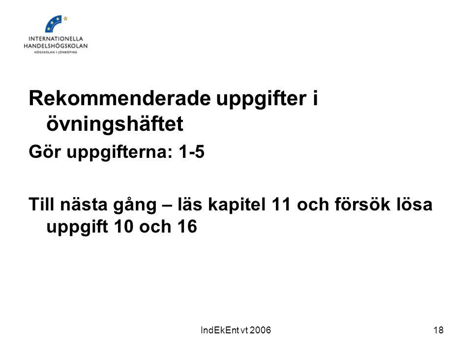 IndEkEnt vt 200618 Rekommenderade uppgifter i övningshäftet Gör uppgifterna: 1-5 Till nästa gång – läs kapitel 11 och försök lösa uppgift 10 och 16