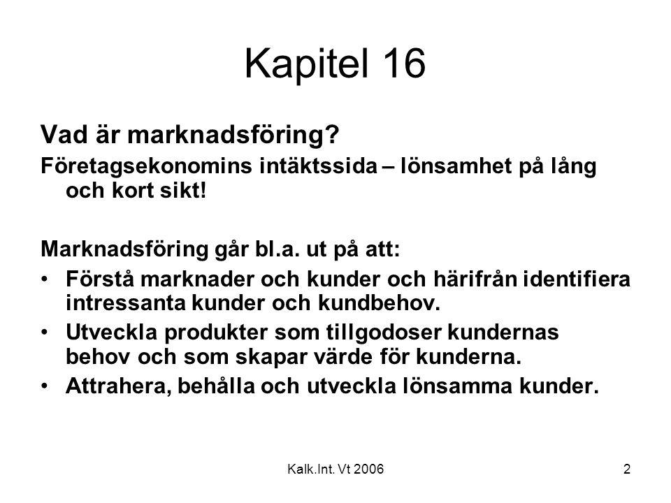 Kalk.Int. Vt 20062 Kapitel 16 Vad är marknadsföring? Företagsekonomins intäktssida – lönsamhet på lång och kort sikt! Marknadsföring går bl.a. ut på a