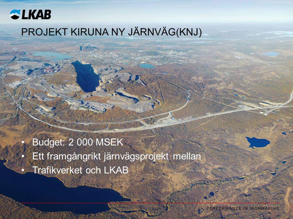 PROJEKT KIRUNA NY JÄRNVÄG(KNJ) Budget: 2 000 MSEK Ett framgångrikt järnvägsprojekt mellan Trafikverket och LKAB
