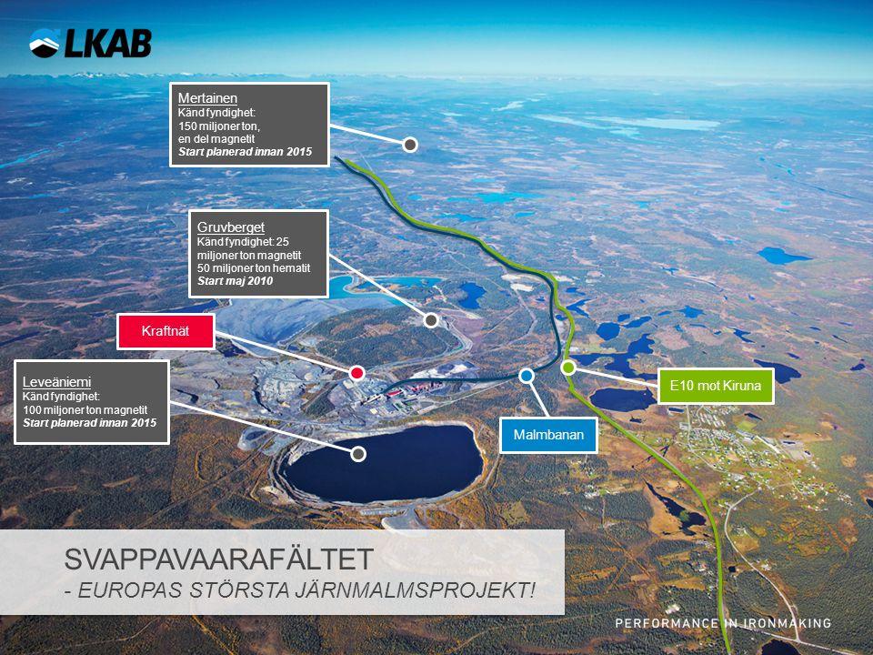 E10 mot Kiruna Mertainen Känd fyndighet: 150 miljoner ton, en del magnetit Start planerad innan 2015 Malmbanan Gruvberget Känd fyndighet: 25 miljoner